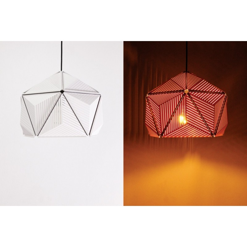 Qualy Icosa Stripe Lamp - Blanc