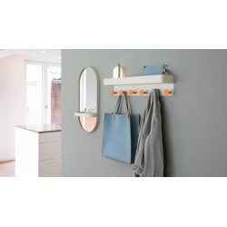 "Remember Wall-mounted mirror with shelf ""Creme"""