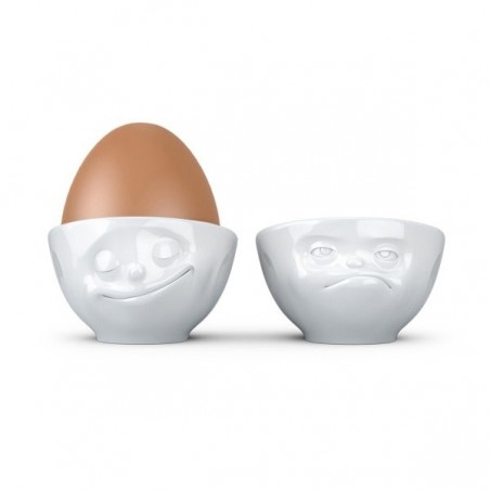 """FIFTYEIGHT Egg Cup Set No.3 """"Happy & Hmpff"""""""