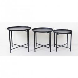 Mondex set de 3 tables LUCAS noir