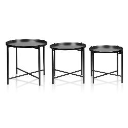 """Mondex set de 3 tables """"LUCAS"""" - noir"""