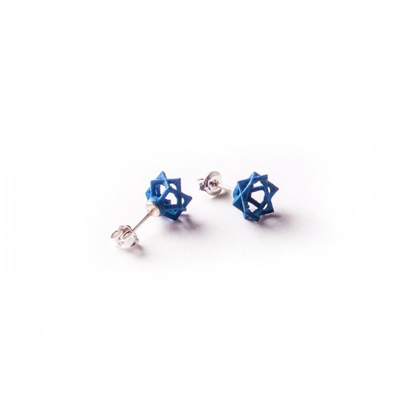 Angular Monogold Blauwe Oorring.01