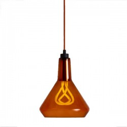 Plumen Shade Pendant Lamp - Amber/Copper Drop Cap