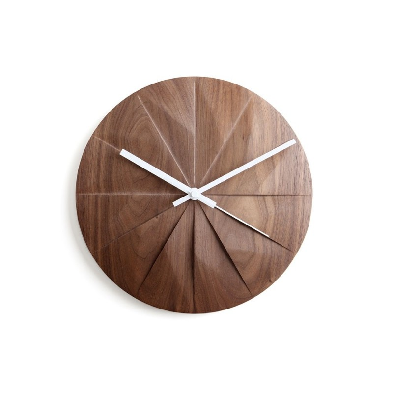 Pana Objects Shady Horloge Murale - Bois de Noyer/Blanc